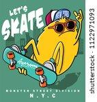 monster skateboarding vector... | Shutterstock .eps vector #1122971093