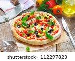 freshly cooked vegetarian pizza ... | Shutterstock . vector #112297823