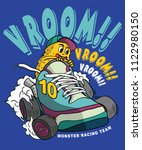 cool monster riding a shoe car  ... | Shutterstock .eps vector #1122980150