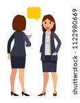 business women talking in flat... | Shutterstock .eps vector #1122980669