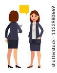 business women talking in flat... | Shutterstock .eps vector #1122980669