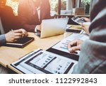 meeting of tax lawyer business... | Shutterstock . vector #1122992843
