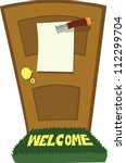 a vector cartoon representing a closed door with a message, holden by a knife