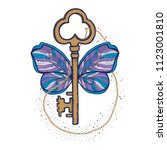 butterfly and key magic... | Shutterstock .eps vector #1123001810