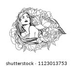 girl with peony flowers in long ... | Shutterstock .eps vector #1123013753
