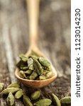 cardamom seasoning in a wooden...   Shutterstock . vector #1123014230