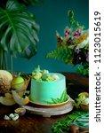 exotic fruit cake among plants  ... | Shutterstock . vector #1123015619