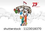 indonesia traditional games... | Shutterstock .eps vector #1123018370