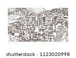 cinque terre is a string of... | Shutterstock .eps vector #1123020998
