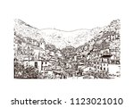 cinque terre is a string of... | Shutterstock .eps vector #1123021010