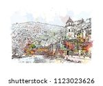 cinque terre is a string of... | Shutterstock .eps vector #1123023626