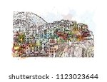 cinque terre is a string of... | Shutterstock .eps vector #1123023644