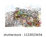 cinque terre is a string of... | Shutterstock .eps vector #1123023656