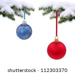 christmas evergreen spruce tree ... | Shutterstock . vector #112303370