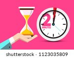 2 minutes hourglass time symbol.... | Shutterstock .eps vector #1123035809