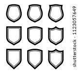 protect guard shield plain line ... | Shutterstock . vector #1123057649