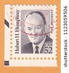 usa circa 1991  stamp printed... | Shutterstock . vector #1123059506