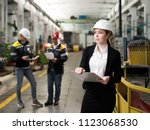 young engineer girl in a modern ... | Shutterstock . vector #1123068530