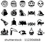 minimalistic halloween icons... | Shutterstock .eps vector #112306868