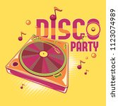 disco party   funky coloful... | Shutterstock .eps vector #1123074989