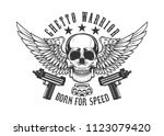 winged skull with guns. design... | Shutterstock .eps vector #1123079420