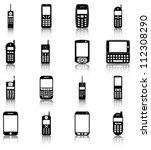 mobile phones   16 icons ... | Shutterstock .eps vector #112308290