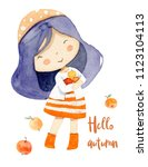 girl with apples. autumn theme.   Shutterstock . vector #1123104113