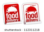 Food delivery stickers set. - stock vector