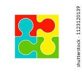 simple puzzle four piece... | Shutterstock . vector #1123120139