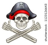 pirate jolly roger skull and...   Shutterstock . vector #1123126643
