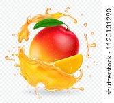 mango juice splash realistic... | Shutterstock .eps vector #1123131290