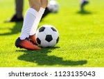 a young man kicking a football... | Shutterstock . vector #1123135043