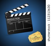movie clapper board and admit...   Shutterstock .eps vector #112313630