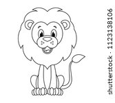colorless  cartoon lion vector... | Shutterstock .eps vector #1123138106