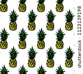 colorful pineapple seamless... | Shutterstock .eps vector #1123139198