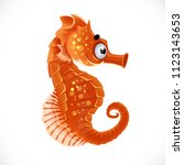 cute cartoon sea   horse... | Shutterstock .eps vector #1123143653