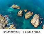 vivid emerald green water at...   Shutterstock . vector #1123157066