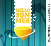 vector hello summer beach party ... | Shutterstock .eps vector #1123158386