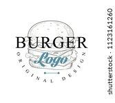 burger logo original design ... | Shutterstock .eps vector #1123161260