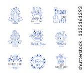 flower shop logo premium set ... | Shutterstock .eps vector #1123161293