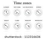 Time Zones. White Clocks