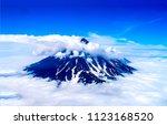 mountain peak snow in clouds... | Shutterstock . vector #1123168520