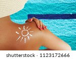 young woman protecting her skin ...   Shutterstock . vector #1123172666