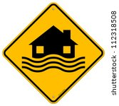 flood disaster yellow sign  ... | Shutterstock .eps vector #112318508
