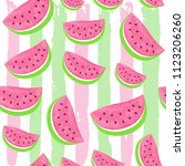 seamless watermelon pattern...   Shutterstock .eps vector #1123206260