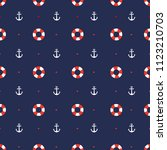 anchor and lifebuoy pattern | Shutterstock .eps vector #1123210703