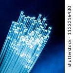 bundle of optical fibers with... | Shutterstock . vector #1123216430