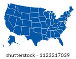 blue map of the united states... | Shutterstock .eps vector #1123217039
