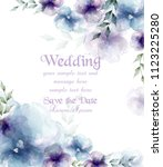 wedding card with watercolor... | Shutterstock .eps vector #1123225280
