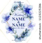 wedding card with watercolor... | Shutterstock .eps vector #1123225286